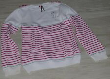 870 - Pull coton 8 ans ORCHESTRA rayé blanc/rose argent