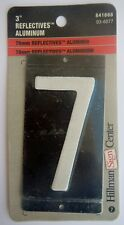 """Hillman Sign Center 3"""" Reflective Aluminum White And Black House Number 7"""