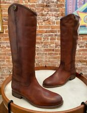 Frye Cognac Brown Leather Melissa Button 2 Riding Boots NEW