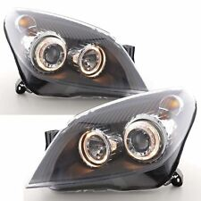 VAUXHALL ASTRA MK5 H 2004-2010 BLACK ANGEL EYE HALO PROJECTOR HEADLIGHTS PAIR