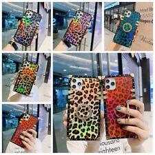 For Samsung Note20 10 S20 S21 8 9 Bling Glitter Retro Leopard Square Case w/Ring