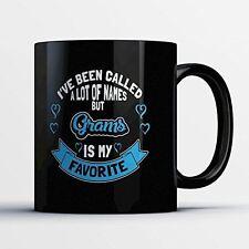 Grams Coffee Mug - Grams Is My Favorite - Adorable 11 oz Black Ceramic Tea Cup -