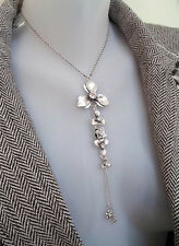 PILGRIM DENMARK SILVER PLATED NECKLACE FLOWERS SWAROVSKI CRYSTALS DROP PENDANT