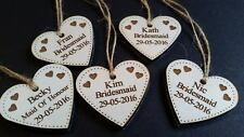 bridesmaid/maid of honour wooden heart engraved gift tag - any role