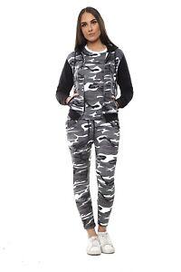 UK Womens Army 3 PCS Tracksuit Set Ladies Active Camouflage Loungewear Size 8-30