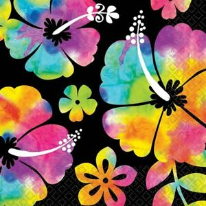 Neon Paradise Tropical Hibiscus Flower Luau Theme Party Paper Beverage Napkins