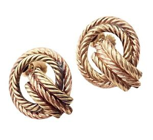 Rare Authentic Vintage Tiffany & Co 14k Yellow Rose Gold Rope Screwback Earrings
