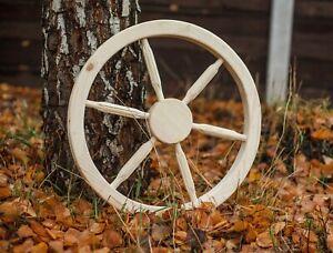Wooden cart wheel - Wooden wagon wheel - Home garden decorative wheel 60 cm