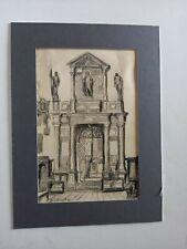 "dessin au crayon  Edouard J Dufeu , "" chapelle "", 19,5x13 cms"