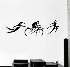 Vinyl Wall Decal Triathlon Swimming Cycling Running Stickers (ig4217)