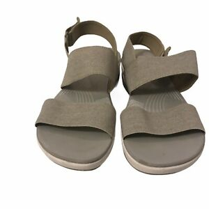 Clarks Cloudsteppers Gray Textile Slingback Wedge Sandals Womens sz 7.5 W 15906