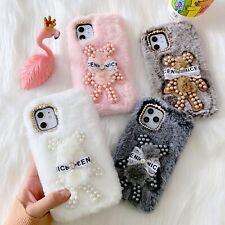 Pearl Bear Hot Warm Plush Cute Cartoon Fashion Women Phone Case Cover For Huawei