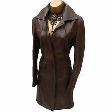 Karen Millen Classic Dark Brown Posh Soft Leather Long Mac Jacket Trench Coat 10