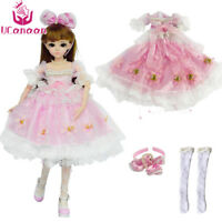 Fashion Pink Princess Suit Clothes For 1/3 BJD Doll Girl Maxi Dress Set Handmade