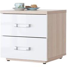 Comodino due cassetti camera elegante frassino laccato bianco CT2221 L45h44p40