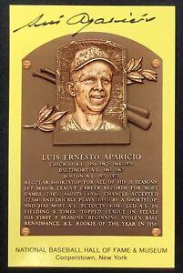 Luis Aparicio Signed Gold HOF Plaque Postcard Yellow Orioles Autograph JSA
