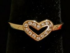 Sterling Silver Cubic Zirconia Gold Heart Ring 1.4g Size 6 great condition