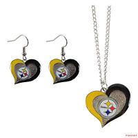 New NFL Pittsburgh Steelers Swirl Heart Necklace & Earring 3pcs Set Jewelry