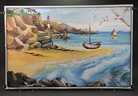 Ancienne affiche scolaire Ogé-Hachette 1960 - 3 la salle de séjour - 9 la plage