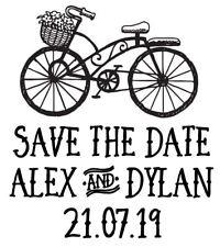 Save The Date Bike-Personalizado De Corte Láser Sello De Goma