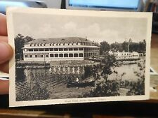Vintage Old ONTARIO CANADA Postcard Honey Harbour Royal Hotel Picnic Tables Boat
