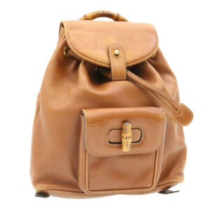 GUCCI Bamboo Backpack Leather Brown Auth fm773