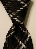 JOHN VARVATOS Men's 100% Silk Necktie USA Luxury PLAID Black/Gray Skinny EUC