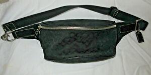 Coach Leather Belt Bag Fanny Pack in Signature Canvas Print Charcoal/Black EC