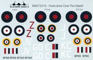 Hurricanes Over the Desert 1/72nd scale decals
