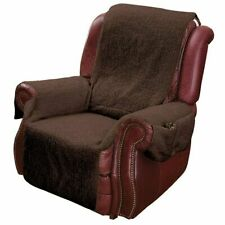 Recliner Chair Cover W/armrests and Pockets Brown - One Size Fits Most