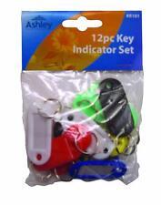 12 Piece Key Multicoloured Indicators Organised Fob Tags Blank Write On Labels