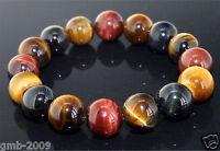 10MM Natural Colorful Tiger Eye Stone Gemstone Beads Men Jewelry Bracelet Bangle