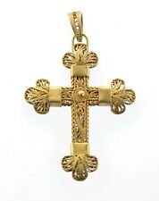 Filigree Hand Made Cross No Chain Antique 1940's Yellow Gold Double Sided