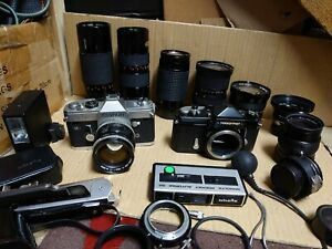 Nikkormat ft And Canon Ft And 8 Lenses
