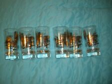 6 VINTAGE Gold & Black Highball Glasses  Pictorial Storm Vulcan Machinery