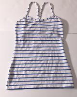 LULULEMON Power Y Tank *Luon Top Shirt White Pipe Dream Blue Stripe-sz 6 EUC