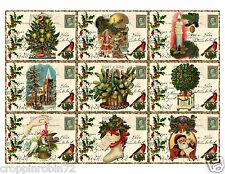 SET OF 9 CHRISTMAS POSTCARDS (06) SCRAPBOOK CARD EMBELLISHMENTS HANG/GIFT TAG