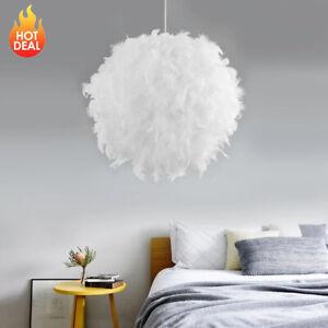 40cm Federn Deckenlampe Schlafzimmer Pendelleuchte  Schlaf Wohn Zimmer Weiß