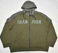 Sean John Hoodie Sweatshirt Men's 4XB 4X 4XL Two-Tone Full-Zip Olive Grey P460