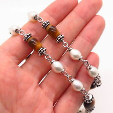 925 Sterling Silver Real Pearl & Tiger Eye Gemstone Bead Chain Necklace 16""