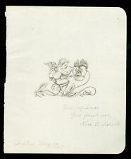 1879 Pen & Ink Drawing - Fanciful Scene - Fairy Painting a Pansy
