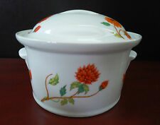 Lewis Lourioux Covered Casserole Round Wild Flowers Porcelain Baker France
