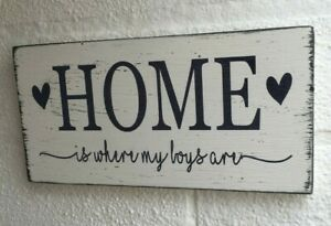 Distressed Home is where my boys girls are hanging wooden sign gift plaque
