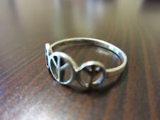"925 Sterling Silver Signed Man/Woman VTG ""3-PEACE"" Delicate Ring SZ 8 - 1 Gr."