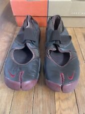 Nike Air Rift Sneakers Split Toe Leather Brown / Red Sole Rare Mens 7 Women's 9