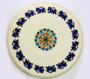 """24"""" Marble Side Round Table Top Handmade Semi precious stones floral Art"""