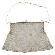 Vintage German Silver Mesh Chain Mail Engraved Clutch / Purse Flapper Era Gatsby