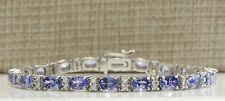 11.01 Carat Natural Tanzanite 14K White Gold Diamond Bracelet