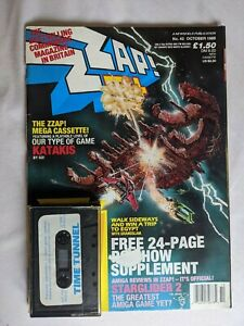 """ZZAP! 64 Issue 42 with cover """"Time Tunnel"""" cassette very good condition"""