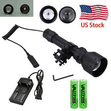 Zoom OSRAM Infrared IR 850nm Night Vision LED Flashlight Hunting Torch+Gun Mount